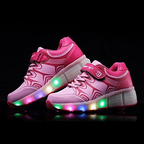 TeraSeven Sneakers Unisexe Enfant Fille Garçon Chaussures à roulettes Skateboard Heelys Baskets Mode Lumineuses LED Chaussures de Sport Clignotantes Y10 Rose