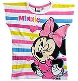 Minnie Mouse T-Shirt Kollektion 2018 Shirt 98 104 110 116 122 128 134 Mädchen Glitzer Glitter Kurzarmshirt Maus (Weiß-Gestreift, 110)