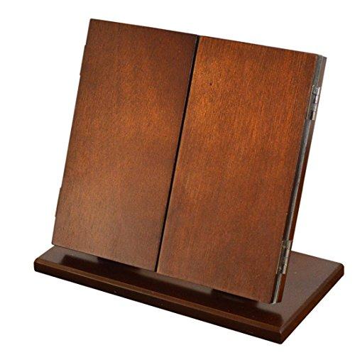 Meydlee Kreative Tabletop Folding 3 Side tragbaren hölzernen Make-up-Spiegel , brown