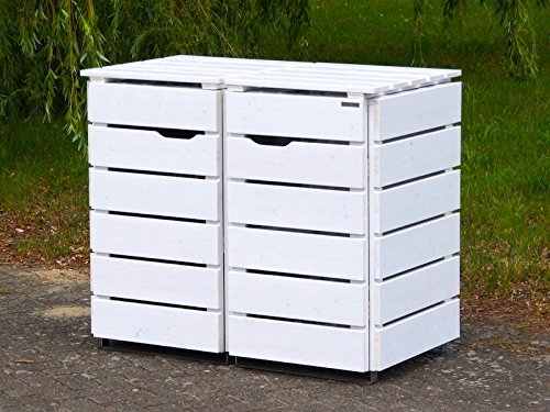 2er Mülltonnenbox / Mülltonnenverkleidung 240 L Holz, Deckend Geölt Weiß