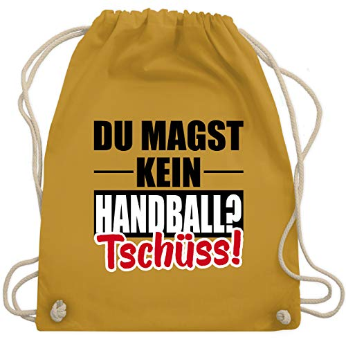 Shirtracer Handball WM 2019 - Du magst kein Handball? Tschüss! - Unisize - Senfgelb - WM110 - Turnbeutel und Stoffbeutel aus Bio-Baumwolle