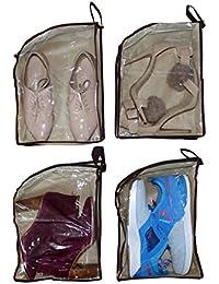 4 Sacs à chaussures par Belle Vous - Sacs Transparents Étanches pour les Voyages, Économiser de place, Rangements sous les Lits et pour le Matériel de Gym - Stocker les Bottes, les Talons Hauts, les