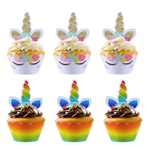 Sevenfly Einhorn Kuchen Dekorationen Cupcake Toppers Und Wrapper Doppelseitige Kids Party Set Von 24, Style 2