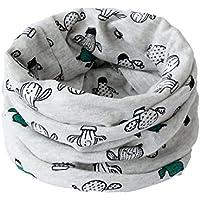 BIGBOBA Bufanda de puro algodón para niños. Bufanda calentadora de cuello para viajar al aire libre en otoño y en invierno, algodón, gris, 40*20cm