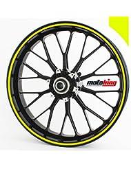 """Adhesivos Motoking para llantas 360 °, 6 mm de ancho, amarillo neón/rueda completa/desde 10"""" hasta 14""""/color y ancho opcionales"""