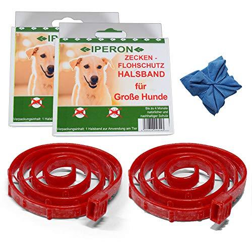 Lyra Pet 2 x Iperon Bio Flohhalsband Hund 75 cm Zeckenschutz + Microfasertuch