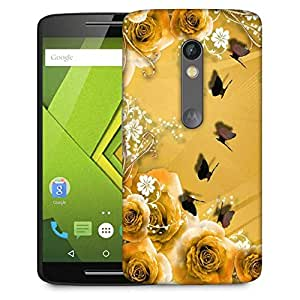 Snoogg Golden Roses And Butterfly Designer Protective Phone Back Case Cover For Lenovo Motorola Moto G4