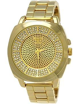 Elegante Ny London Damen-Uhr Strass Analog Quarz Armband-Uhr in Gold mit großem Ziffernblatt