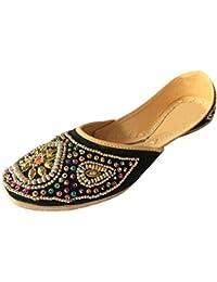 Step n Style Punjabi JUTTI soporte de hombre Mojari étnica Beaded JUTTI tradicional zapatos, color Beige, talla 36 2/3