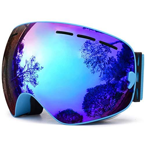 TUONROAD Skibrille Brille,Skibrille Blau Ski Brille Brillenträger Schneebrille Snowboardbrille Verspiegelt,Snowboard Wintersport Brille,UV-Schutz Anti-Nebel für Herren Snowboarden Snowmoblie