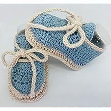 Patucos de ganchillo, hechos a mano, tipo deportivos, para bebés, de 0