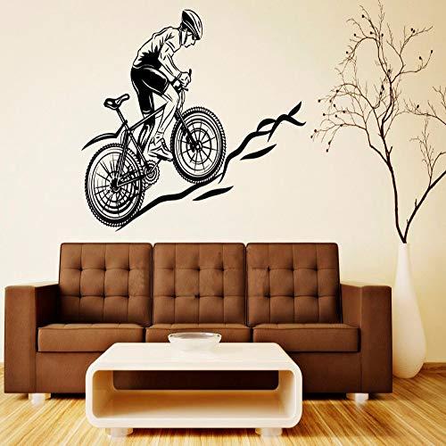TYLPK Kühle Sport Fahrrad Mountainbike Decals Wand Vinyl Aufkleber Wohnkultur Wohnzimmer Schlafzimmer Abnehmbare Kunst Wandbilder 56x63 cm