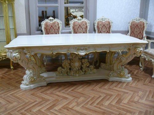 LouisXV Barock Esstisch Tisch Tafel Barock Rokoko Vp9975/24 antik Stil Massivholz. Replizierte...