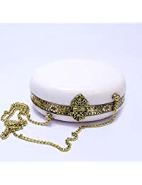 GiftingBestWishes White Metal Clutch Cum Sling Bag With Strong Metal Chain For Women