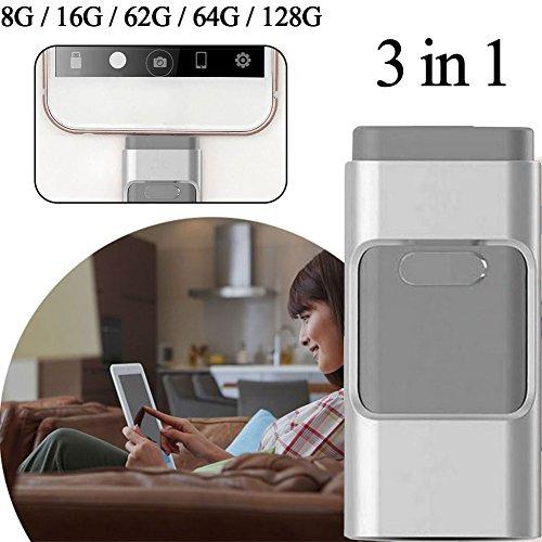 Comaie® i-flashdrive 3-in-1-u-disk USB-Flash Drive HD Pendrive fast-transmission für iPhone, iPad, USB-Schnittstelle für PC-1Pen Drive, 128GB Pendrive OTG-Stick mit mehreren Funktionen
