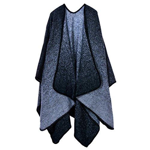 GWELL Ponchos Capes Femme Large Echarpe Epaisse Châle Cachemire Manteau Tricot Couverture Chaud Blanket Hiver Automne noir 5