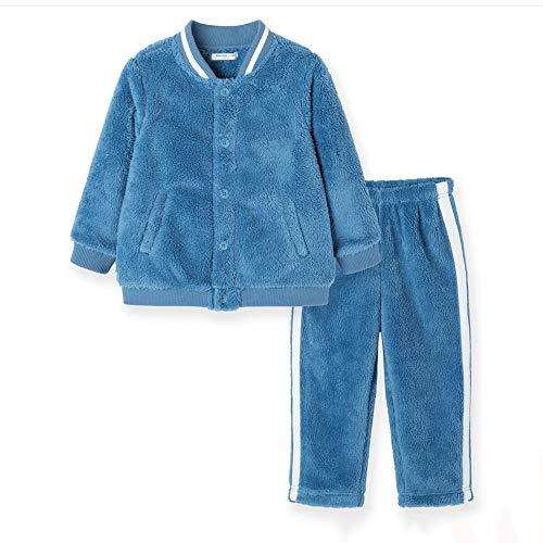 BAOMEI Nachthemden Baseball-Art Boy Pyjama Winter-Coral Velvet verdickte Plus Velvet Kinder Home Service Anzug Junge Kinder ältere Kinder Warm Coral Fleece, stilvoller Anzug