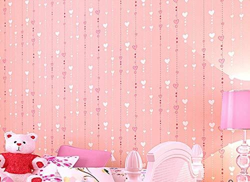 JJHR Tapete Rosa Liebe Herz Cartoon Mädchen Zimmer Hintergrund Wallpaper Roll 3D Geprägte Beflockung Non Woven Kids Wall Covering Paper, A (Wallpaper Ziegel Geprägte)