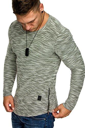 Amaci&Sons Oversize Vintage Herren Longsleeve Zipper Sweatshirt Crew-Neck Shirt 6041 Khaki M -