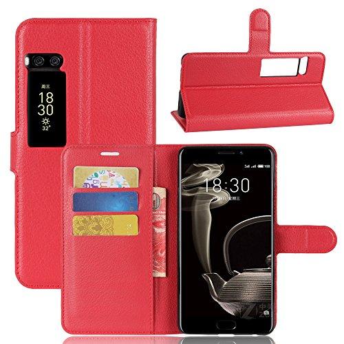 Kihying Hülle für Meizu Pro 7 Plus Hülle Schutzhülle PU Leder Flip Wallet Fashion Geschäft HandyHülle (Rot - JFC03)