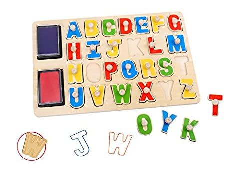 Alphabet Stamps Puzzle Wooden ABC Puzzle Board & Stamp Combo-*Sameday Dispatch* TKB832-S13