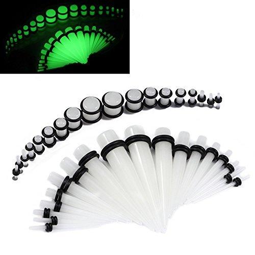 BodyJewelryonline Glühen Sie in der dunklen Messgeräte verjüngt sich mit Stecker Ohr dehnen Kit - 36 Stück 14ga - 00ga UV-Glow Acryl (Und Messgeräte Ohr Verjüngt)