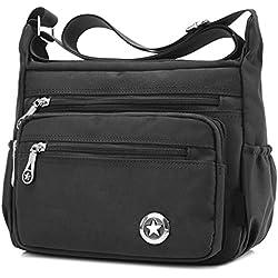 Bolso de hombro para mujer, cruzado, estilo cartero, impermeable, de nailon, color Negro, talla S