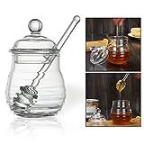 OFKPO Glas Honiggläser mit Honiglöffel,Transparent Honigtopf/Honigbehälter