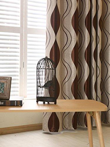 adaada 2er-Set Geometrische Moderne Luxus Vorhänge für Wohnzimmer(245 * 140cm,Braun)