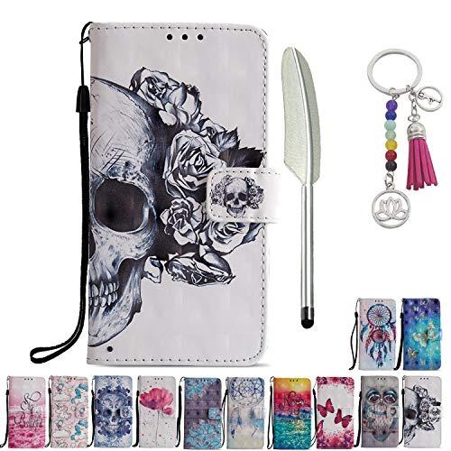 KM-Panda Lederhülle Kompatibel für Samsung Galaxy A70 Leder Hülle Tasche mit Muster Totenkopf Skelett Blume Schutzhülle Handytasche Handyhülle Flip Case Klapphülle