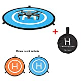"N.ORANIE PGY 30"" /75cm Drone Landing Pad Fast-Fold Portable Collapsible Helicopter Helipad Launch Pad Parking Apron with Carrying Bag for DJI Mavic Pro Phantom 2/3/4/4 Pro Inspire 1&DJI Spark and Other Brand Drones(Blue & Orange,30"")"