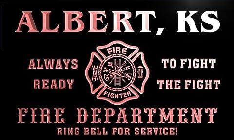 qy55999-r FIRE DEPT ALBERT, KS KANSAS Firefighter Neon Sign