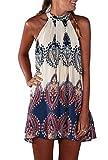 iMELY Damen Kleider Trägerkleid Langshirt gedruckt Sommerkleid Strandkleid- Gr. L, Weiß