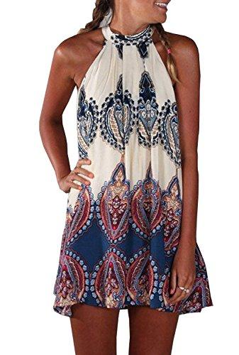 iMELY Damen Kleider Trägerkleid Langshirt gedruckt Sommerkleid Strandkleid- Gr. M, Weiß