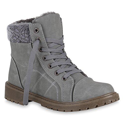 Stiefelparadies Damen Schuhe Schnürstiefeletten Warm Gefütterte Stiefeletten Kunstfell 149522 Grau Autol 38 Flandell