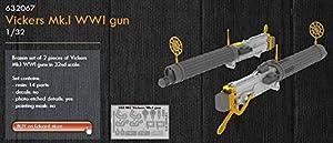 Eduard EDB632067 Juego de Pistola de latón, 1:32 Vickers MK.I WWI, Variado.