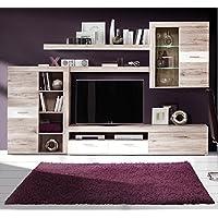Homely - Mueble de salón TRAMA moderno y modular, color roble y blanco mate