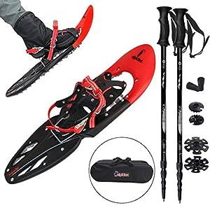 ALPIDEX Schneeschuhe 29 INCH für Schuhgröße 38-46, bis 130 kg, mit Double-Traction Bindung und inklusive Tragetasche – wahlweise mit oder ohne Stöcke erhältlich