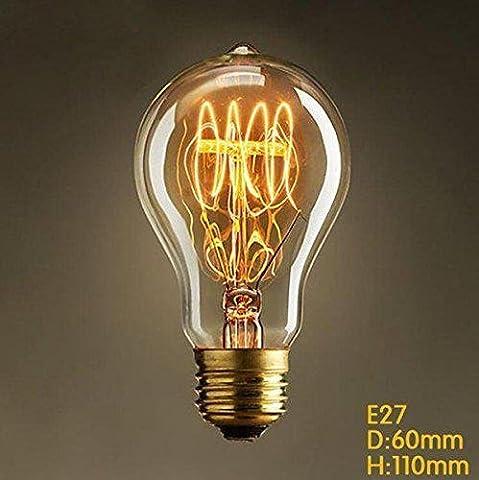 Vintage Edison um die Drahtlampe Glühlampe E27 40w,60w A19 Beleuchtung Für Retro Nostalgie Industry Style Leuchtmittel (40)