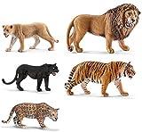 Schleich Wild Cat Set Of 5 Together: Lion Roaring, Black Panther, Cheetah, Jaguar, Lioness