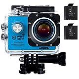 Aokon WiFi Action Cam Videocamera Subacquea Full HD 1080P Impermeabile Action Sport Camera 2.0 Pollici 4x Zoom 2 Batterie 170°Grandangolare e Kit Accessori per Ciclismo Nuoto e altri Sport Esterni (Blu)