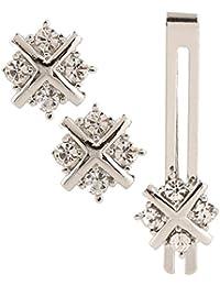 Meenaz Men Jewellery Cufflinks Set Diamonds Crystals Tie pin for Men in a Gift Box Valentines Day Gifts for Men Silver Cufflink,Tie pin Combo Set Valentine's Special -Cufflink Set-9102