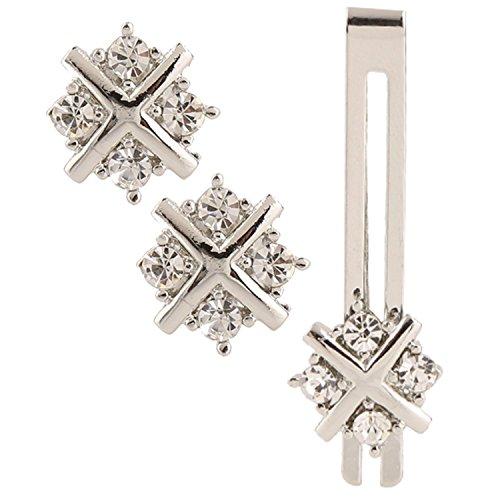Miami Men Jewellery cufflinks set diamonds crystals Tie pin for men gift...