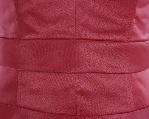 Dresstells Robe de soirée cocktail rétro années 50 en satin col en V forme empire Bordeaux