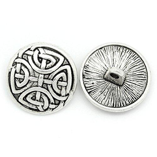 asmaza (TM) 30pcs de costura de diseño Vintage botones Patrón tallado tono plateado redondo Accesorios 17mm