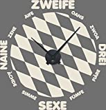 GRAZDesign 800356_BK_816 Wandtattoo Uhr mit Uhrwerk Wanduhr Bayern München Zahlen Flagge (60x57cm//816 Antique White//Uhrwerk schwarz)