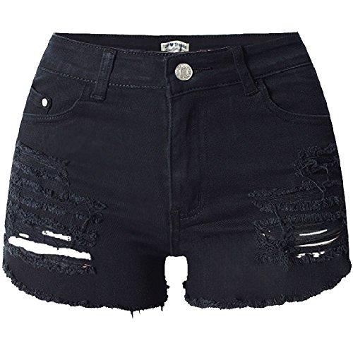 Frauen Retro Loecher Denim Shorts Der Hohen Taille Der Hot Pants Schwarz 36 (Hot Taille Short Hohe)