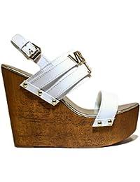VERSACE J E0VNBS34 75550 003 Zapatos de mujer sandalias de cuña, tacón alto, NUEVA COLECCIÓN PRIMAVERA VERANO 2016 DE CUERO BLANCO