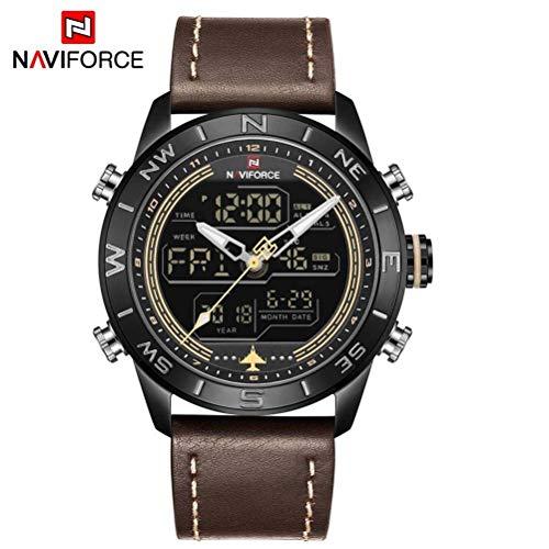 xisnhis schöne Uhren naviforce nf9144 männer doppel - Display japanische Bewegung Leder Uhr Nacht Datum