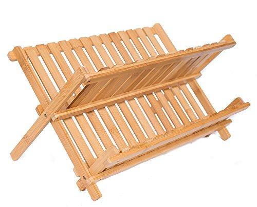 BirdRock Home bambú plegable estante para platos   plegable de 2niveles escurreplatos escurridor de   de madera   secado utensilios y platos